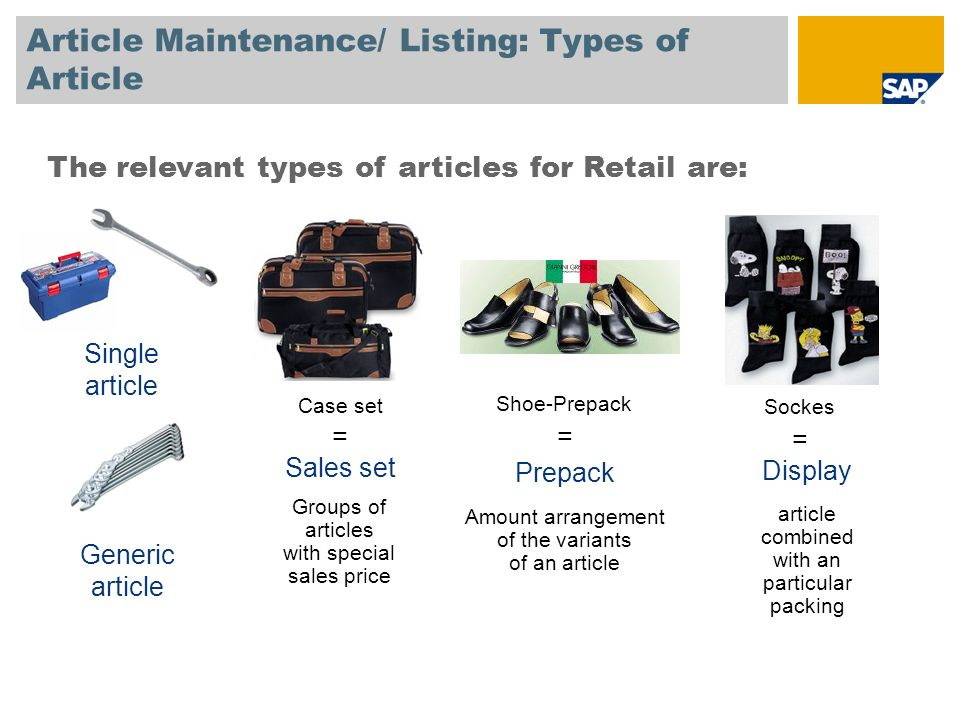 Article Maintenance/ Listing: Types of Article