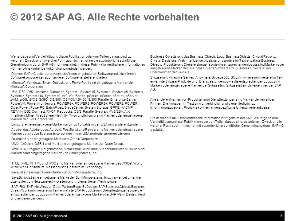 © 2012 SAP AG. Alle Rechte vorbehalten