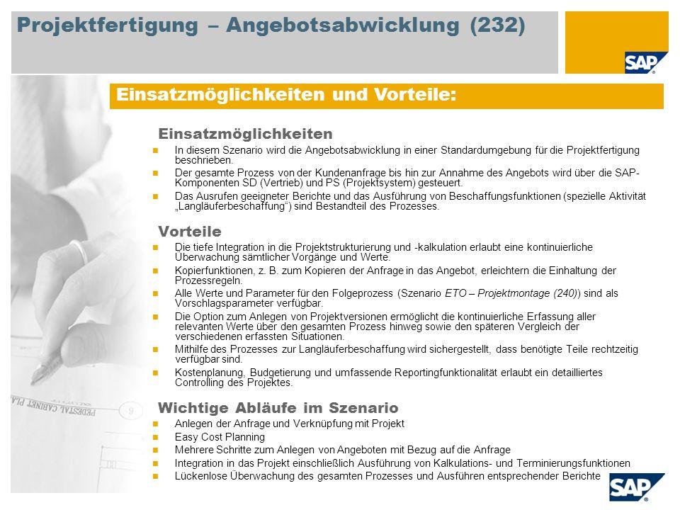Projektfertigung – Angebotsabwicklung (232)