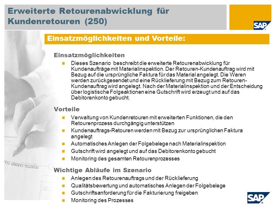 Erweiterte Retourenabwicklung für Kundenretouren (250)