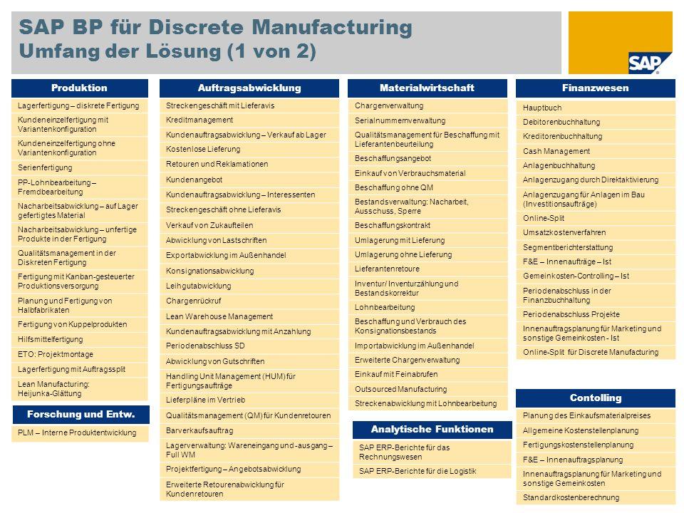 SAP BP für Discrete Manufacturing Umfang der Lösung (1 von 2)