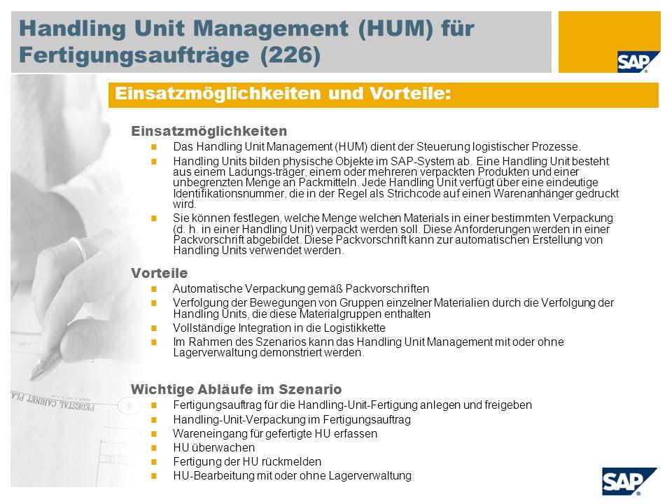 Handling Unit Management (HUM) für Fertigungsaufträge (226)