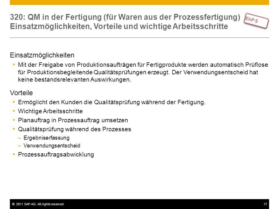 320: QM in der Fertigung (für Waren aus der Prozessfertigung) Einsatzmöglichkeiten, Vorteile und wichtige Arbeitsschritte