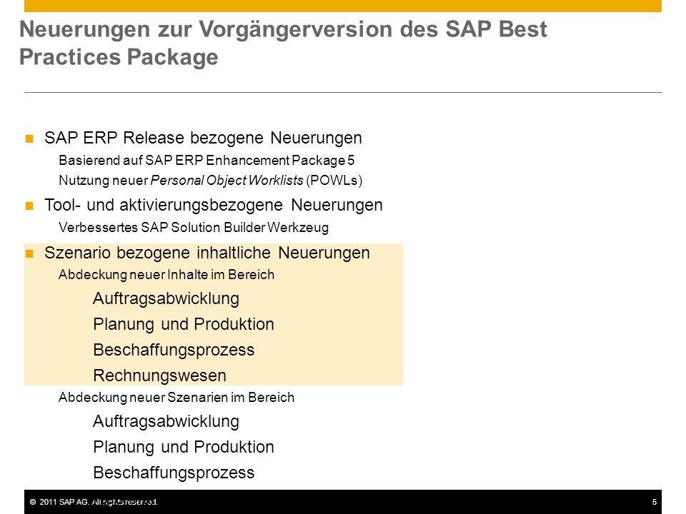 Neuerungen zur Vorgängerversion des SAP Best Practices Package