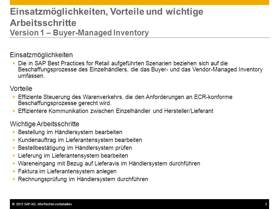 Einsatzmöglichkeiten, Vorteile und wichtige Arbeitsschritte Version 1 – Buyer-Managed Inventory