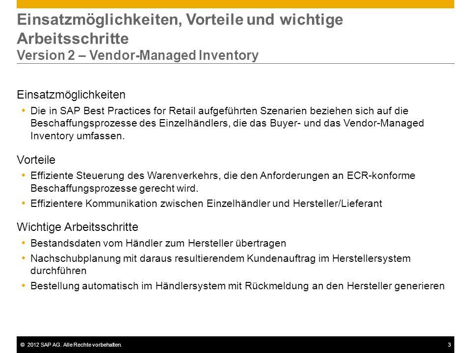Einsatzmöglichkeiten, Vorteile und wichtige Arbeitsschritte Version 2 – Vendor-Managed Inventory