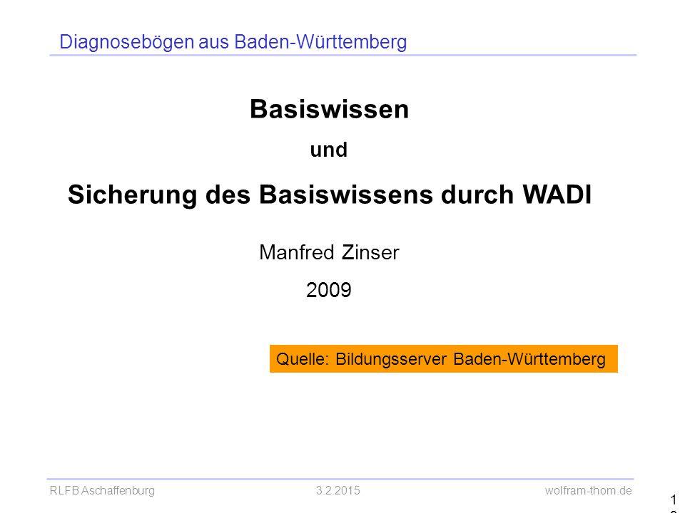 Diagnosebögen aus Baden-Württemberg