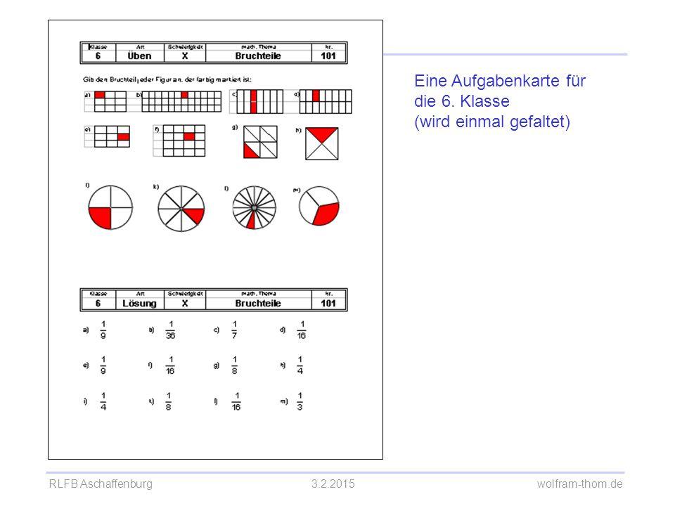 Eine Aufgabenkarte für die 6. Klasse (wird einmal gefaltet)