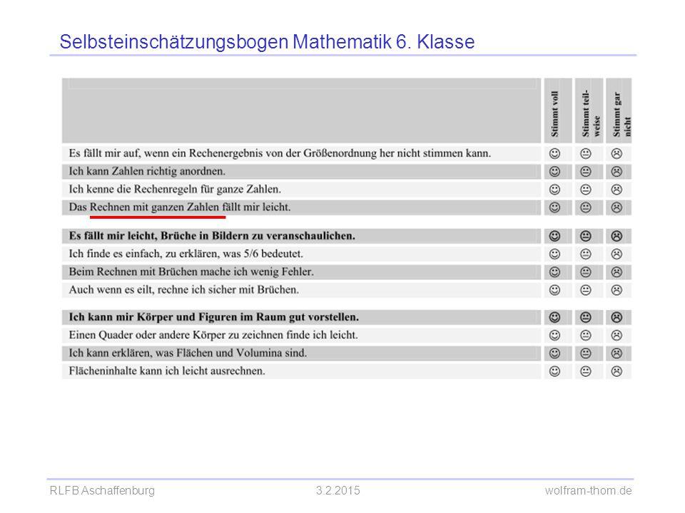 Selbsteinschätzungsbogen Mathematik 6. Klasse