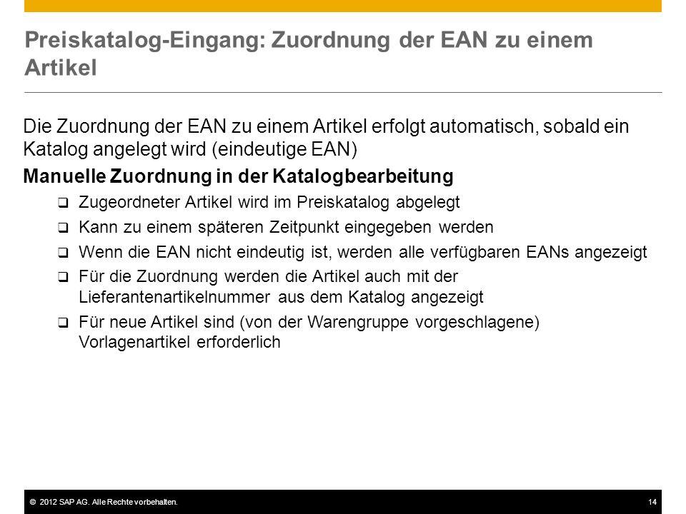 Preiskatalog-Eingang: Zuordnung der EAN zu einem Artikel