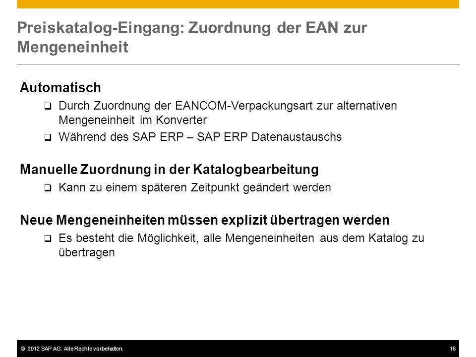 Preiskatalog-Eingang: Zuordnung der EAN zur Mengeneinheit