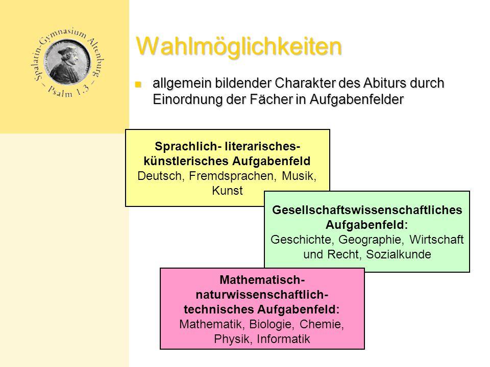 Wahlmöglichkeiten allgemein bildender Charakter des Abiturs durch Einordnung der Fächer in Aufgabenfelder.