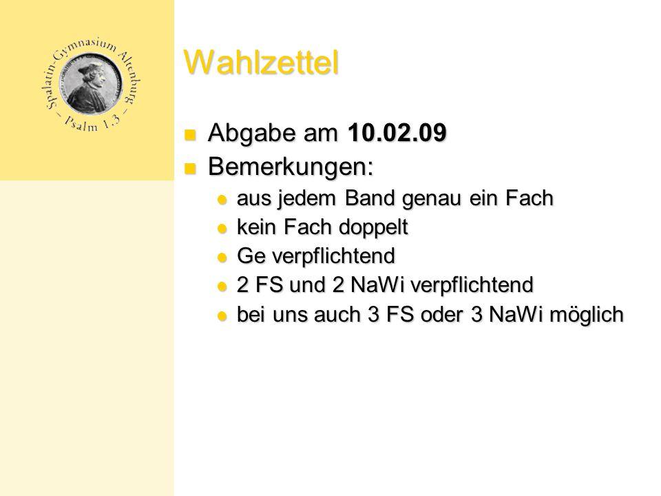 Wahlzettel Abgabe am 10.02.09 Bemerkungen: