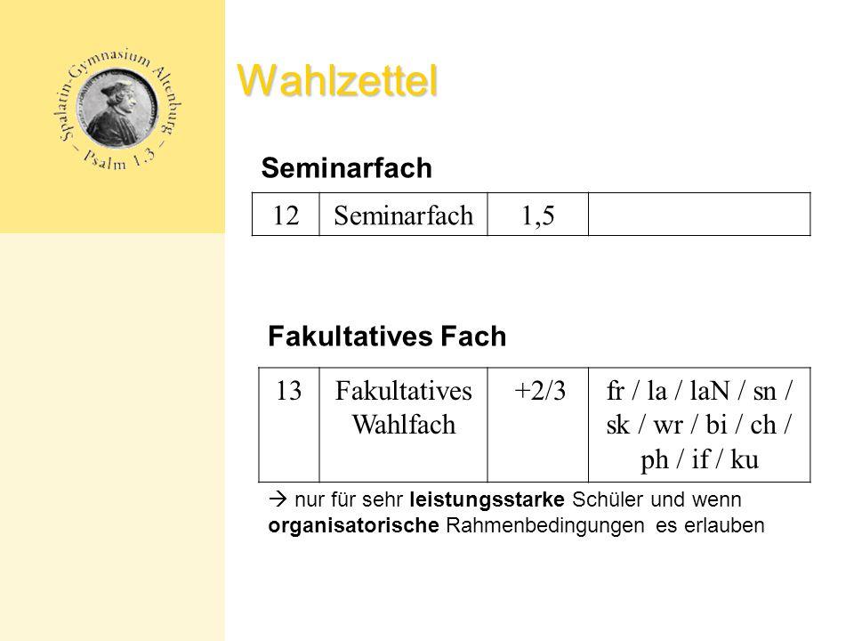 Wahlzettel Seminarfach 12 Seminarfach 1,5 Fakultatives Fach 13