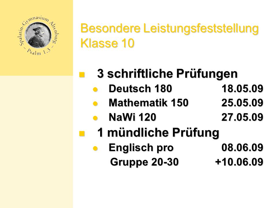 Besondere Leistungsfeststellung Klasse 10