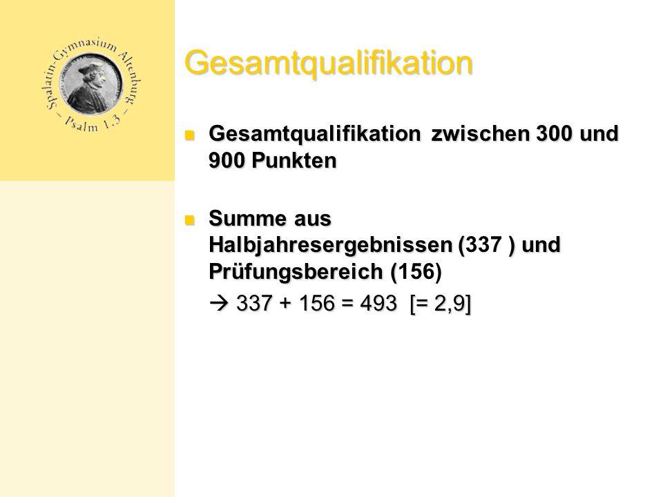 Gesamtqualifikation Gesamtqualifikation zwischen 300 und 900 Punkten