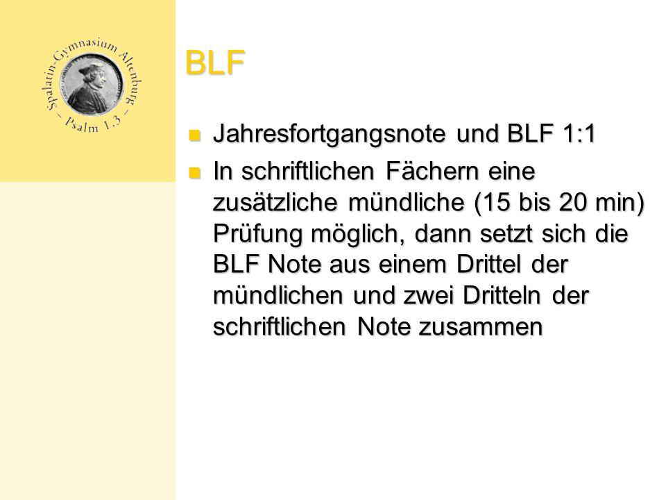 BLF Jahresfortgangsnote und BLF 1:1