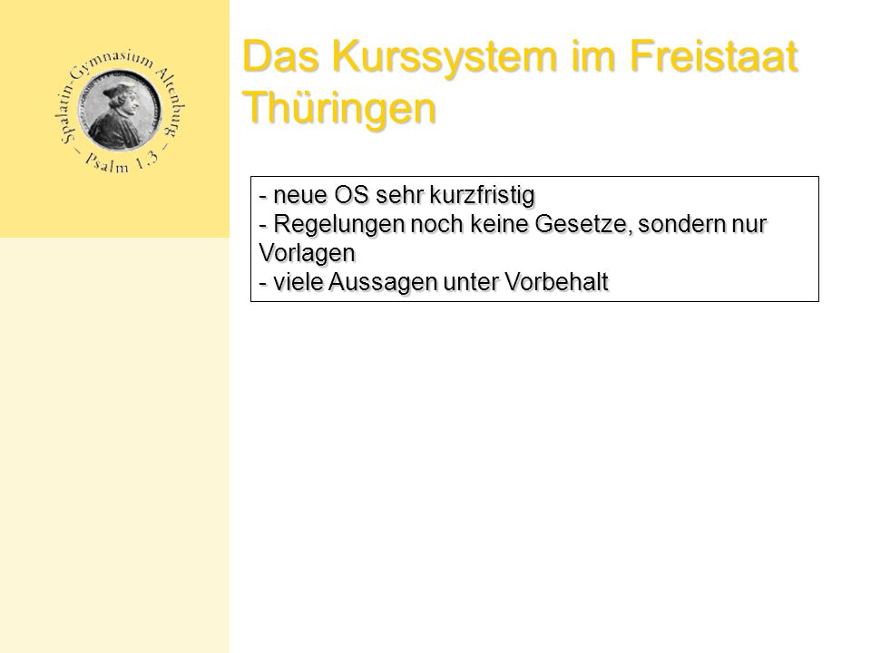Das Kurssystem im Freistaat Thüringen