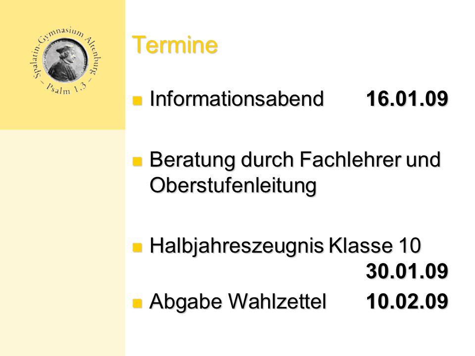 Termine Informationsabend 16.01.09