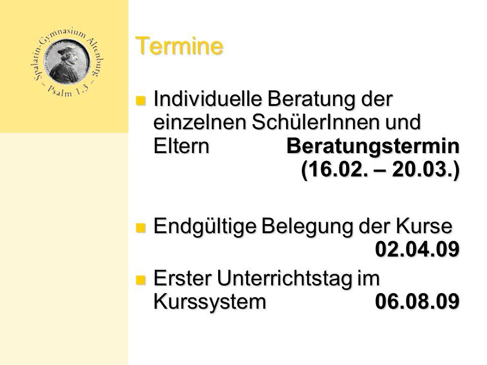Termine Individuelle Beratung der einzelnen SchülerInnen und Eltern Beratungstermin (16.02. – 20.03.)