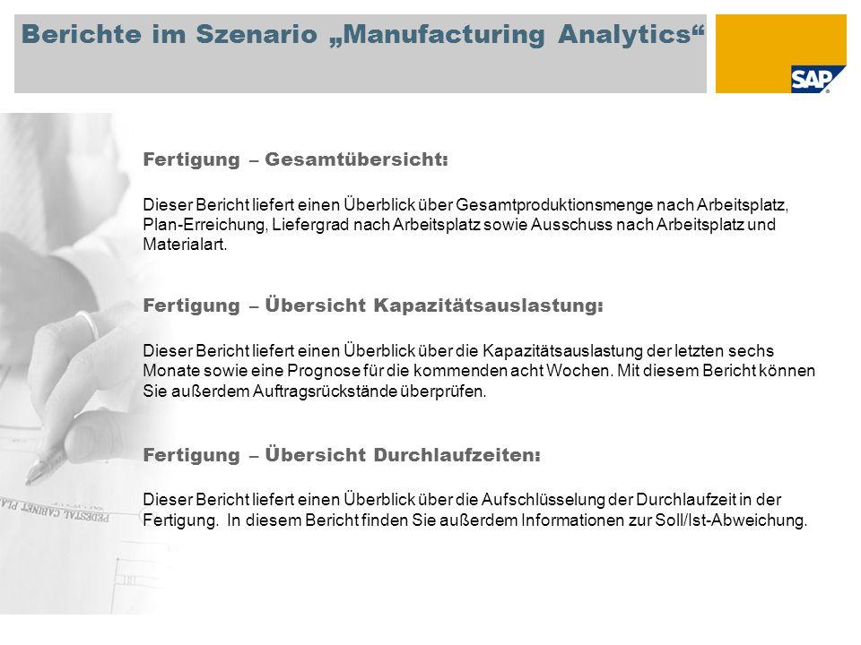 """Berichte im Szenario """"Manufacturing Analytics"""