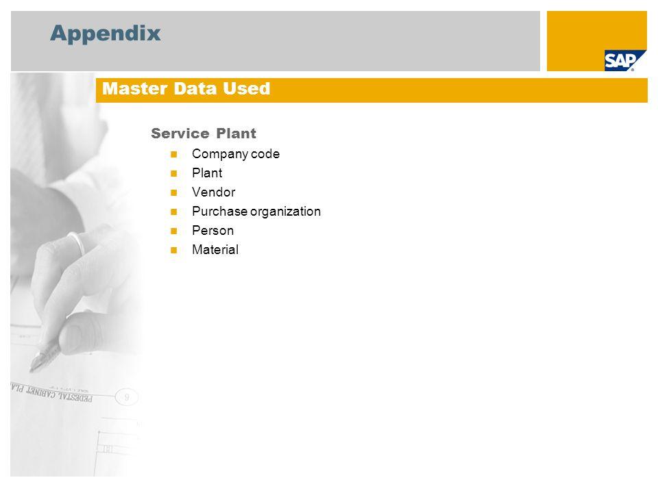 Appendix Master Data Used Service Plant Company code Plant Vendor