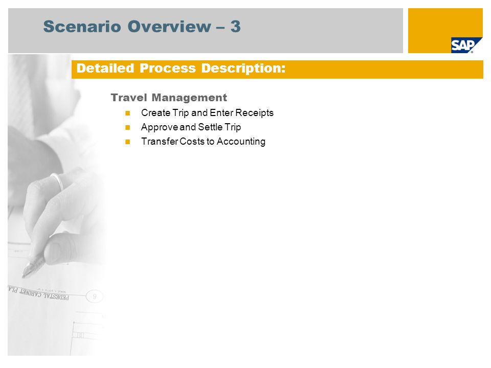 Scenario Overview – 3 Detailed Process Description: Travel Management