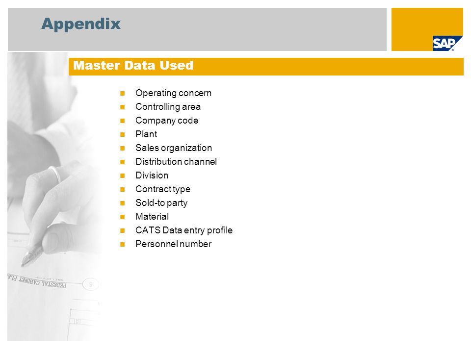Appendix Master Data Used Operating concern Controlling area