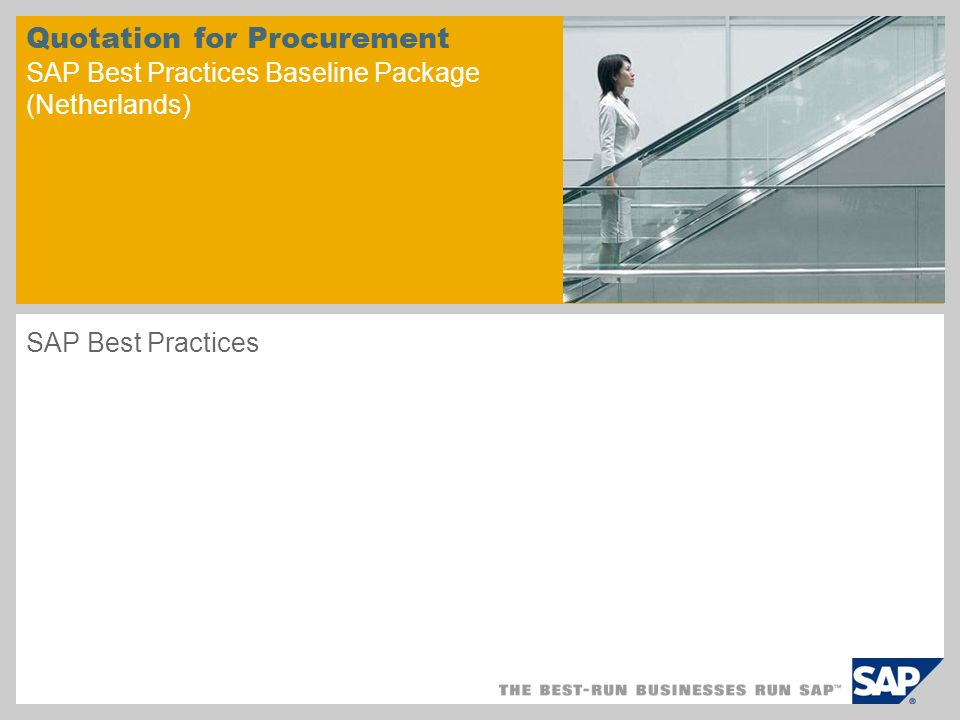 Quotation for Procurement SAP Best Practices Baseline Package (Netherlands)