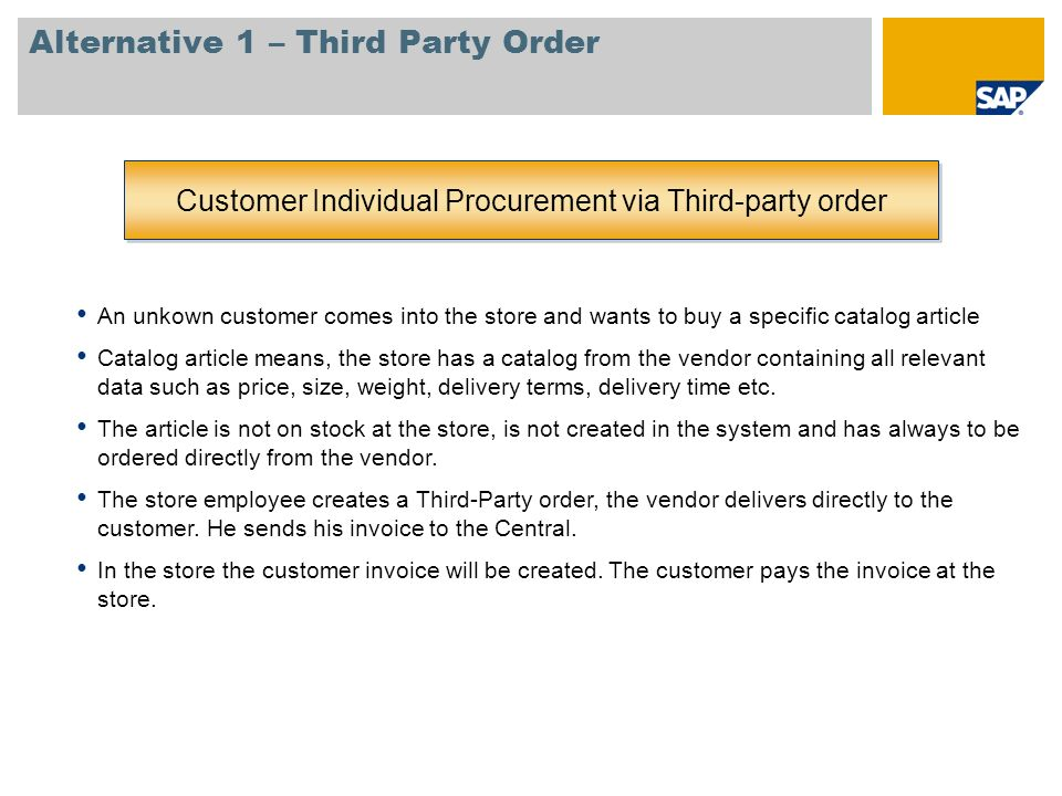 Alternative 1 – Third Party Order