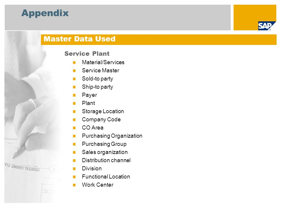 Appendix Master Data Used Service Plant Material/Services