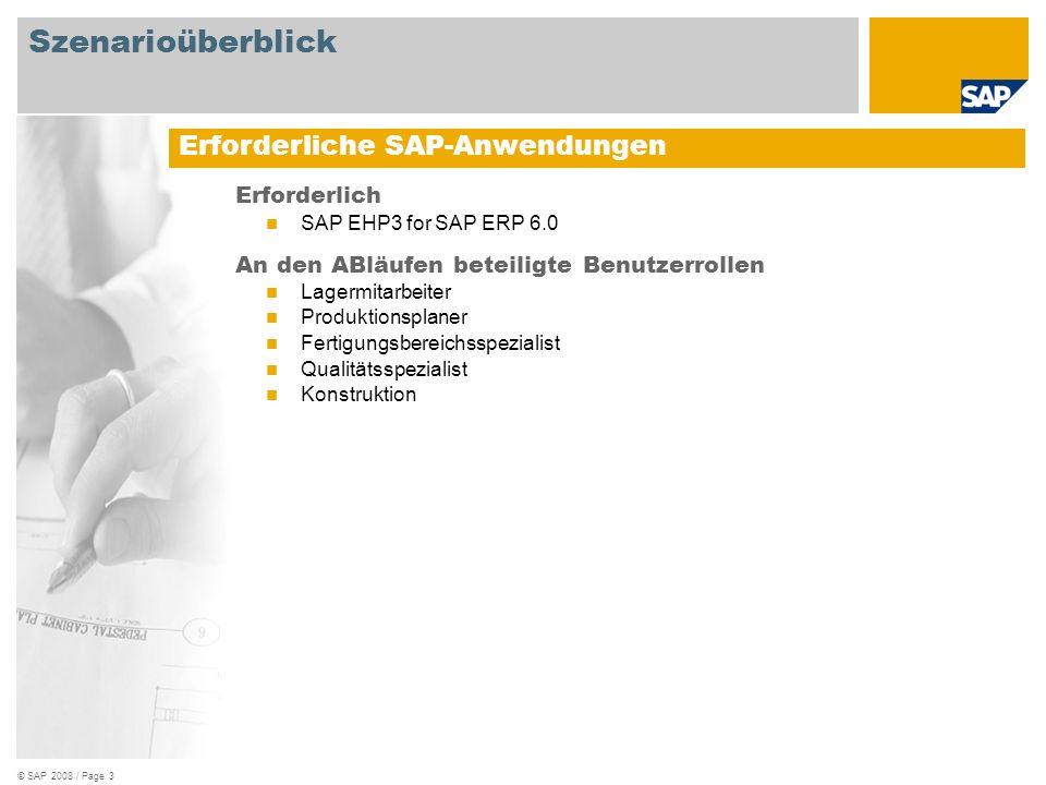 Szenarioüberblick Erforderliche SAP-Anwendungen Erforderlich
