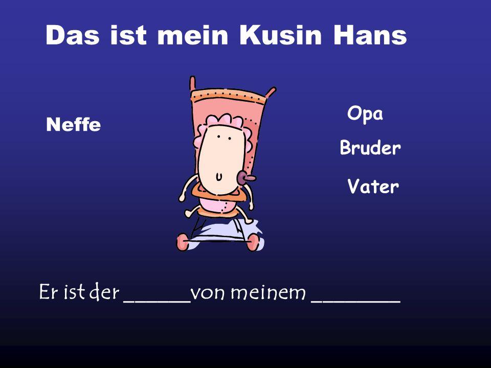 Das ist mein Kusin Hans Er ist der ______von meinem ________ Opa Neffe