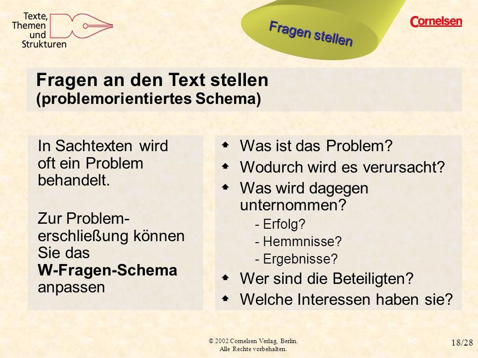 Fragen an den Text stellen (problemorientiertes Schema)