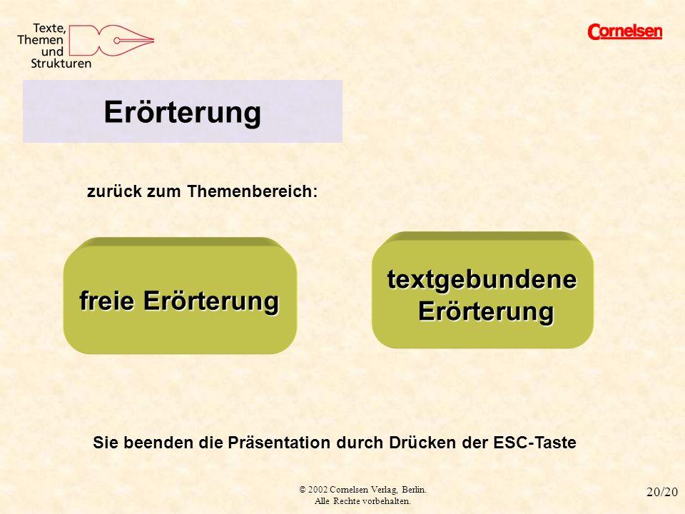 Erörterung textgebundene freie Erörterung Erörterung