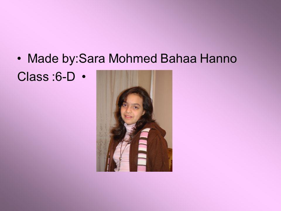 Made by:Sara Mohmed Bahaa Hanno