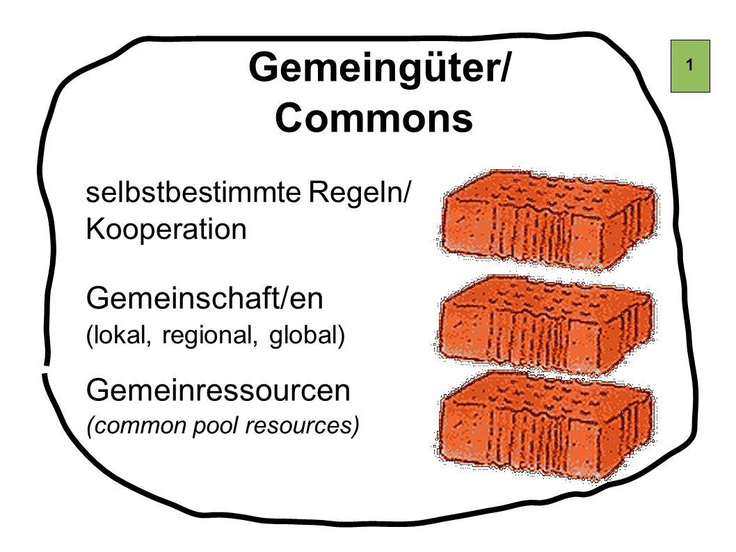 Gemeingüter/ Commons Gemeinschaft/en Gemeinressourcen