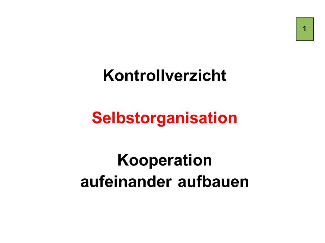 Kontrollverzicht Selbstorganisation Kooperation aufeinander aufbauen