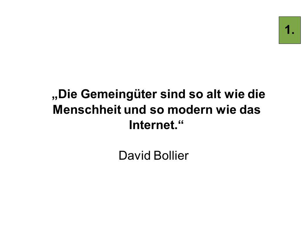 """1. """"Die Gemeingüter sind so alt wie die Menschheit und so modern wie das Internet. David Bollier"""