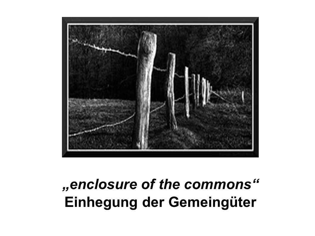 """enclosure of the commons Einhegung der Gemeingüter"