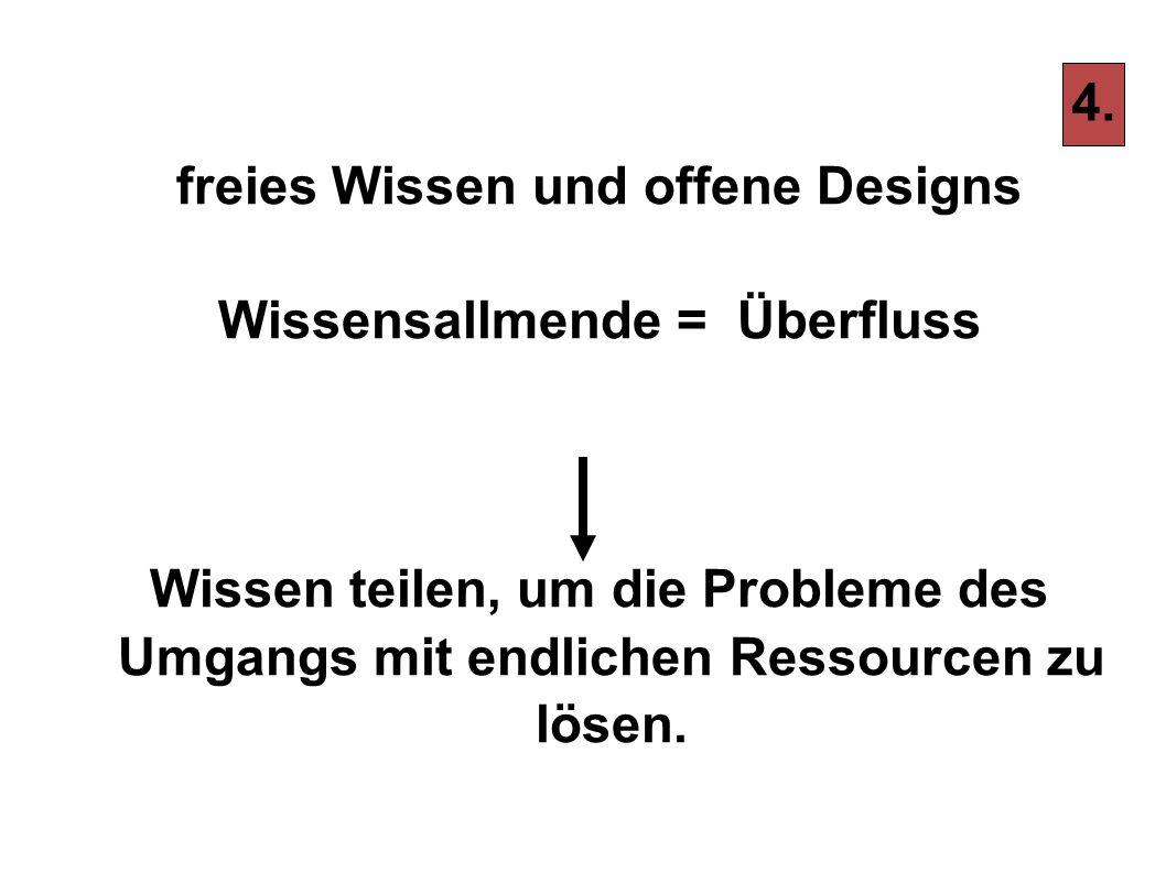 freies Wissen und offene Designs Wissensallmende = Überfluss