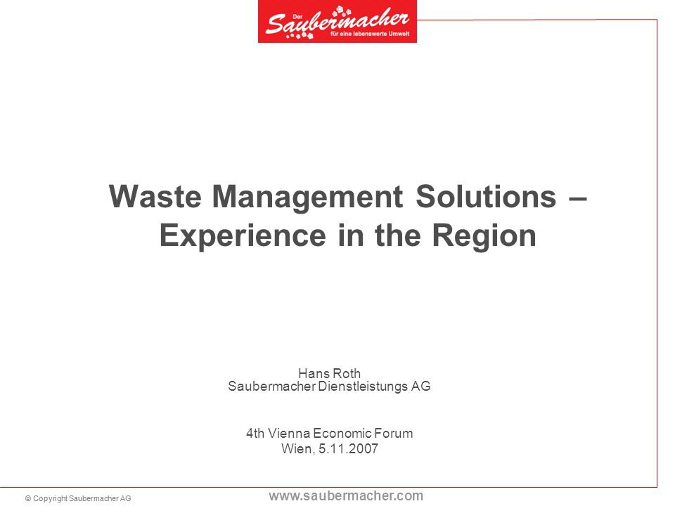 Waste Management Solutions – Experience in the Region