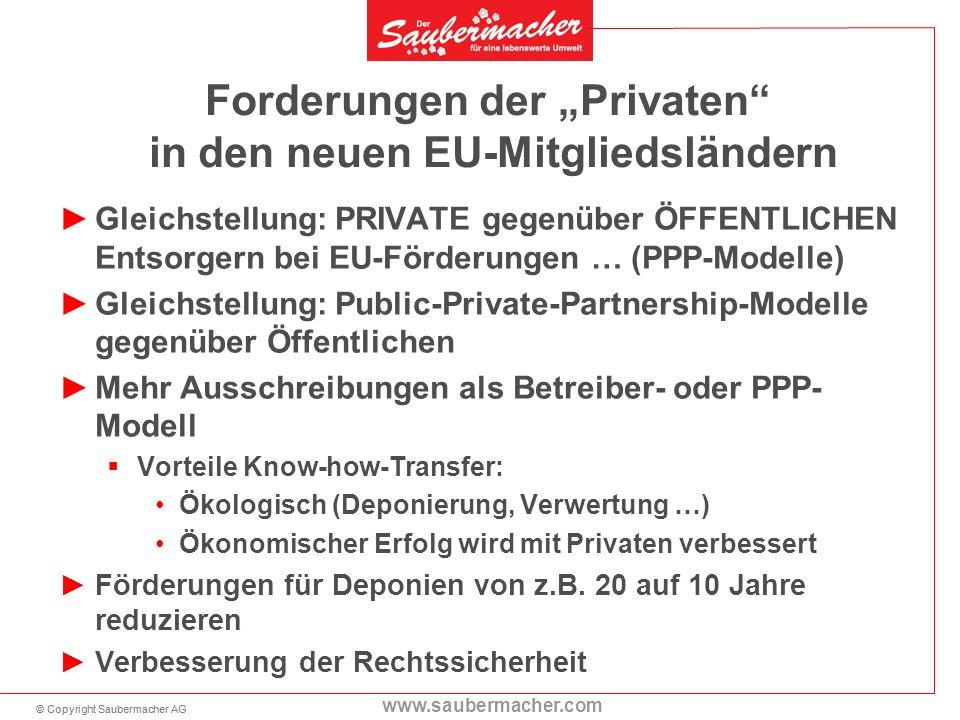 """Forderungen der """"Privaten in den neuen EU-Mitgliedsländern"""