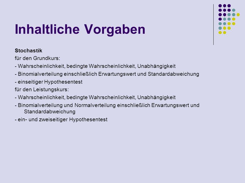 Inhaltliche Vorgaben Stochastik für den Grundkurs: