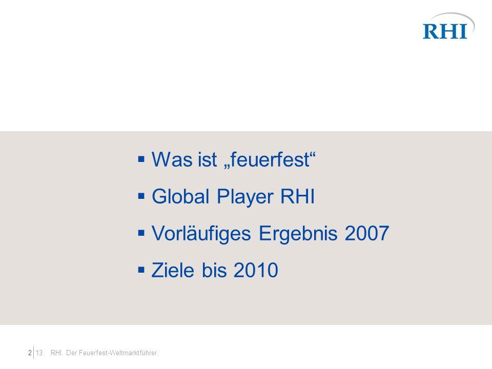 """Was ist """"feuerfest Global Player RHI Vorläufiges Ergebnis 2007"""