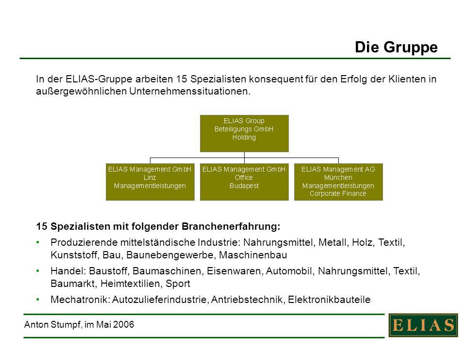 Die Gruppe In der ELIAS-Gruppe arbeiten 15 Spezialisten konsequent für den Erfolg der Klienten in außergewöhnlichen Unternehmenssituationen.