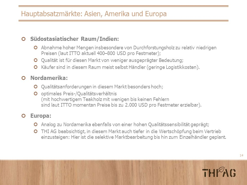 Hauptabsatzmärkte: Asien, Amerika und Europa