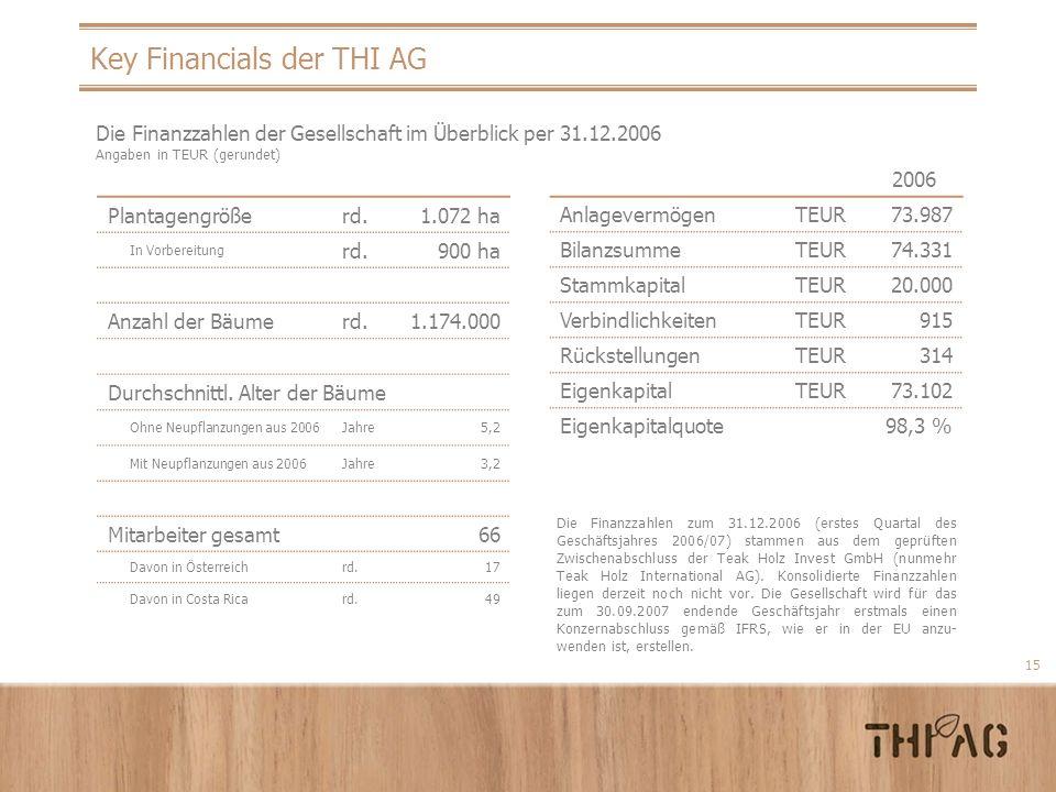 Key Financials der THI AG