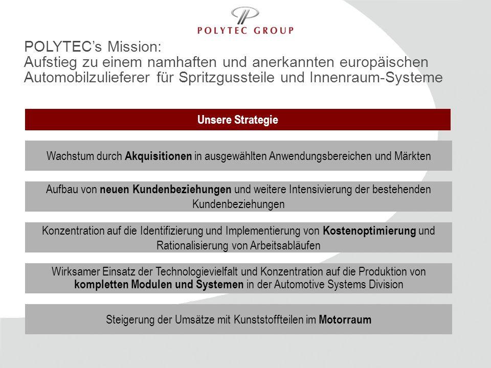 POLYTEC's Mission:Aufstieg zu einem namhaften und anerkannten europäischen Automobilzulieferer für Spritzgussteile und Innenraum-Systeme.