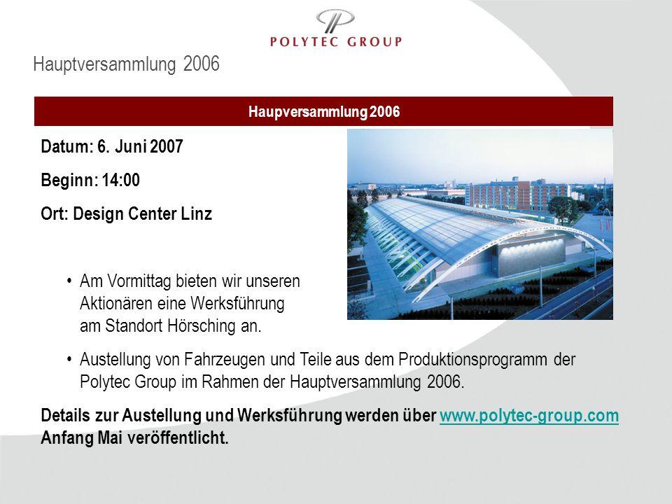 Hauptversammlung 2006 Datum: 6. Juni 2007 Beginn: 14:00